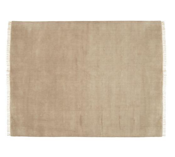 Fringed Hand-Loomed Wool Rug, 5x8', Wheat