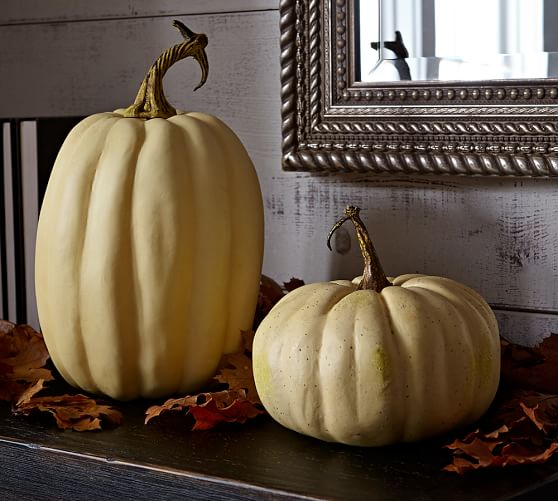 Faux Harvest Pumpkins, Set of 2 (White, White Tall)