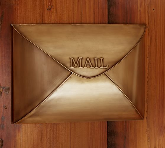 Envelope Mailbox, Vintage Brass finish