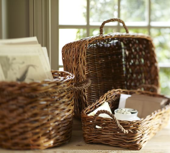 Woven Arurog & Abaca Rope Basket, Square Caddy, 16