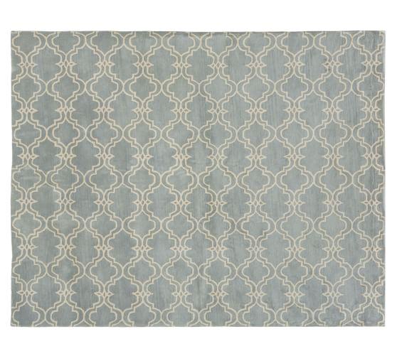 Scroll Tile Rug, 5x8', Porcelain Blue/Ivory