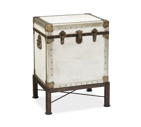 Ludlow Trunk with Stand Side Table, White