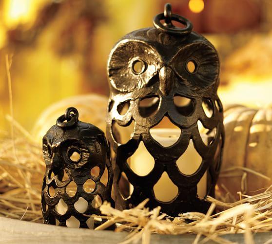 Owl Shaped Lantern, Small, Bronze finish