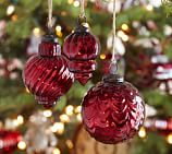 Red Mercury Glass Ornaments, Set of 3, one of each style