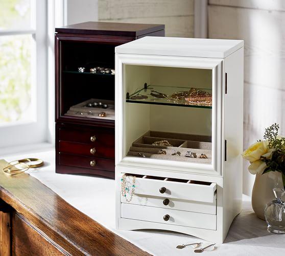 Andover Jewelry Box, Tall, Antique White