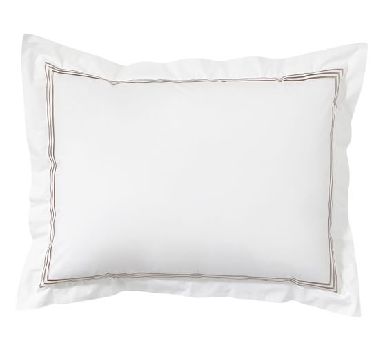 Grand Embroidered Sham, Standard, Taupe