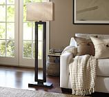 Rochester Floor Lamp , Pitted Bronze finish with Large Maxwell Natural Shade