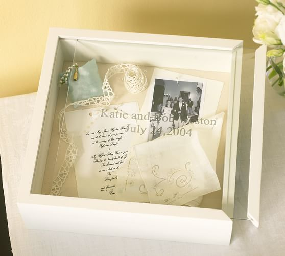 Wedding Keepsake Box, White with Optional Personalization