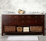 Classic Double Sink Console, Espresso Finish, Carrara Marble & Chrome Finish Knobs