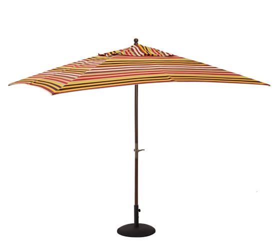 Rectangular Umbrella with Eucalyptus Pole, Keller Stripe