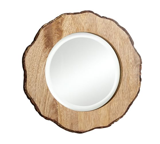 Tye Mill Round Bark Rim Mirror,Small