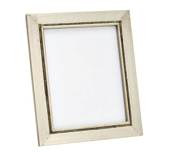 """Metal Clad Nailhead Picture Frame, 8 x 10"""", Silver Champagne"""