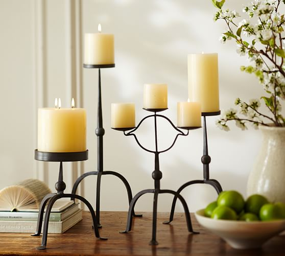 Bradley Metal Pillar Candleholder, Grand, Bronze finish