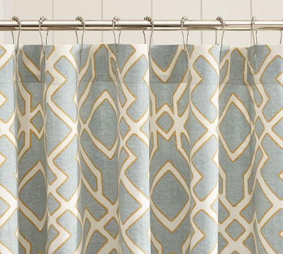 Shelby Geometric Shower Curtain, Blue
