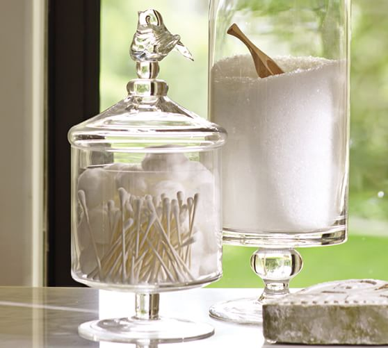 bird glass canister small pottery barn