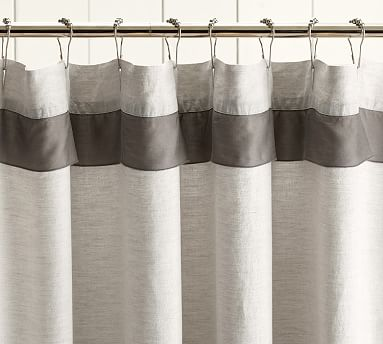 Linen With Silk Trim Shower Curtain Pottery Barn