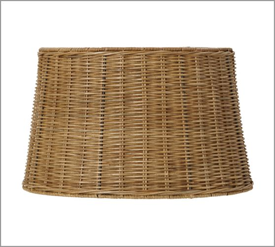 Woven Basket Lamp Shade : Woven wicker tapered drum lamp shade pottery barn