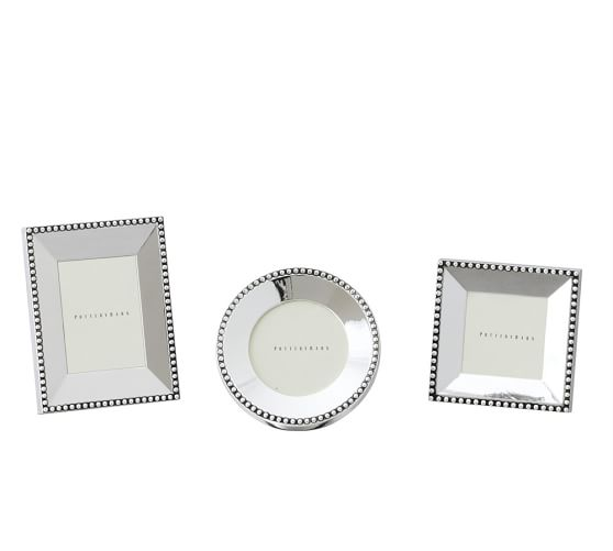 Beaded Silver-Plated Picture Frame, Set of 3 mini, one of each style
