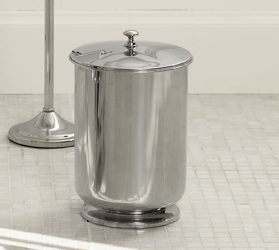 Mercer Lidded Waste Basket, Polished Nickel finish