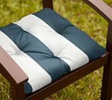 Tufted Outdoor Dining Chair Cushion, Outdoor Canvas PB Classic Stripe, Ink Blue