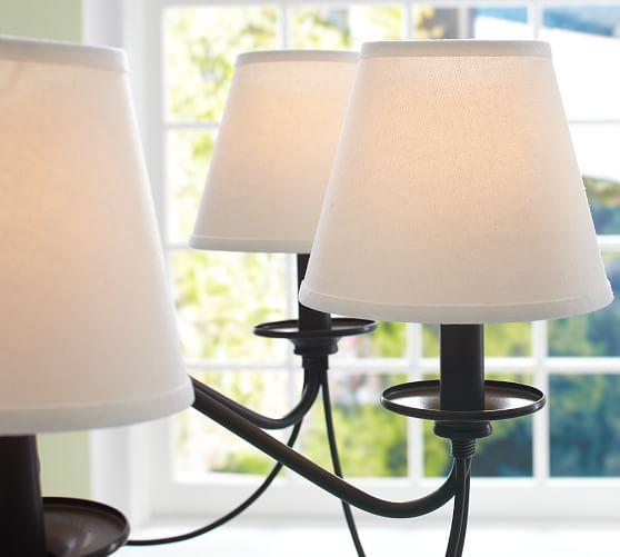 Pottery Barn Clip On Lamp: PB Basic Linen Chandelier Shade, Set Of 3
