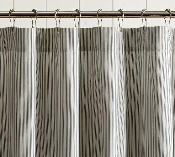 Ruffled Ticking Stripe Shower Curtain, Harbor Blue