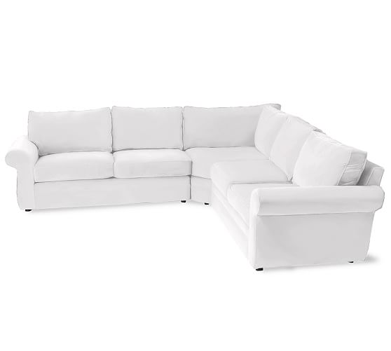 Pearce Upholstered 3-Piece L-Shaped Sectional, Down Blend Wrapped Cushions, Twill White