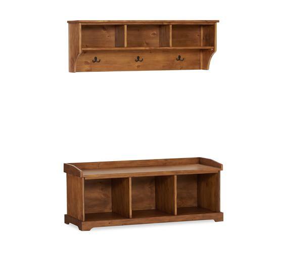 Samantha Entryway Bench & Shelf Set, Rustic Pine finish