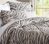 Gray Zebra Printed Comforter, Twin