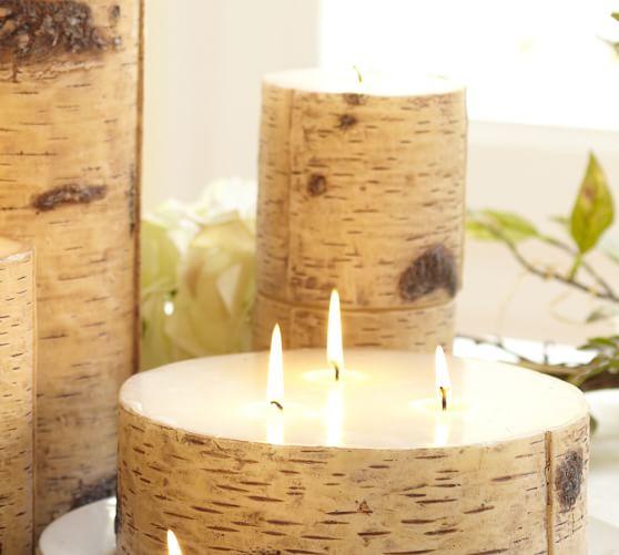Painted Birch Pillar Candle, 4 x 8