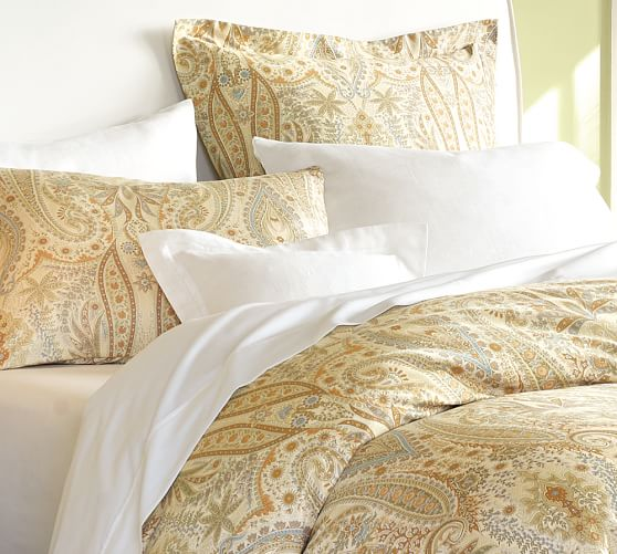 Blythe Paisley Organic Sateen Duvet Cover, Twin