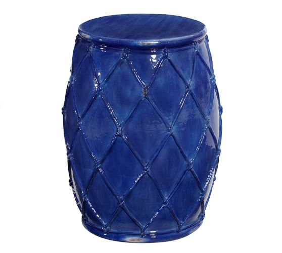 Net Ceramic Accent Table, Blue