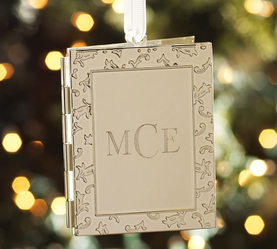 Monogrammable Frame Locket Ornament, Silver-Plate