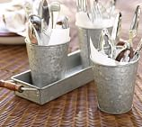 Galvanized Metal 3-Section Condiment Set