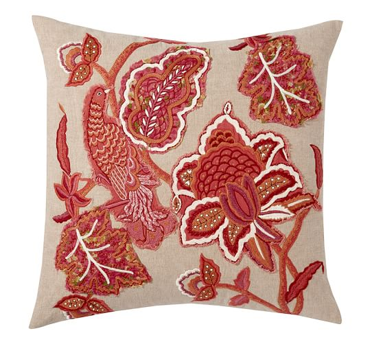 Lilian Palampore Embroidered Pillow Cover, 24