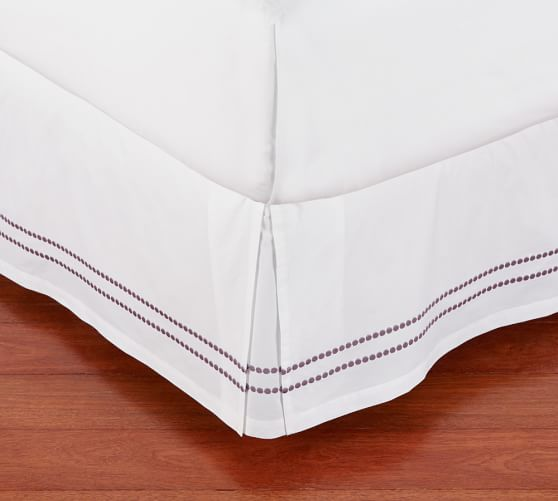 Pearl Embroidered Box-Pleat Bed-Skirt, Twin, Soft Lilac