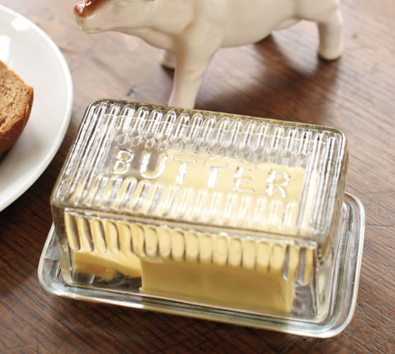 Pressed Glass Lidded Butter Dish
