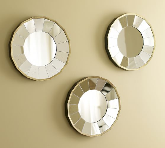 rhona round gilt mirrors set of 3 pottery barn. Black Bedroom Furniture Sets. Home Design Ideas