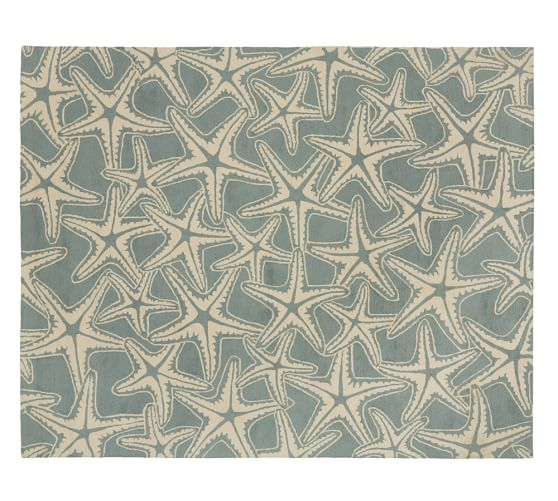 Starfish Tufted Wool Rug, 3x5', Porcelain Blue