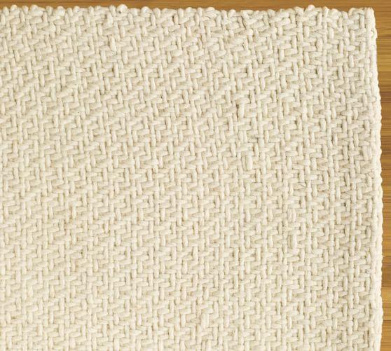 Alexa Braided Felted Wool Rug, 3x5', Ivory
