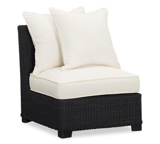Palmetto All-Weather Wicker Armless Chair, Black