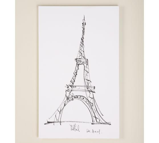 Stretched Canvas Artwork, Eiffel Tower, 22 x 36