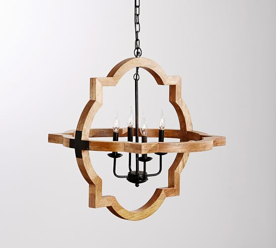 Pottery Barn Small Chandelier: Paloma Wood Chandelier, Small