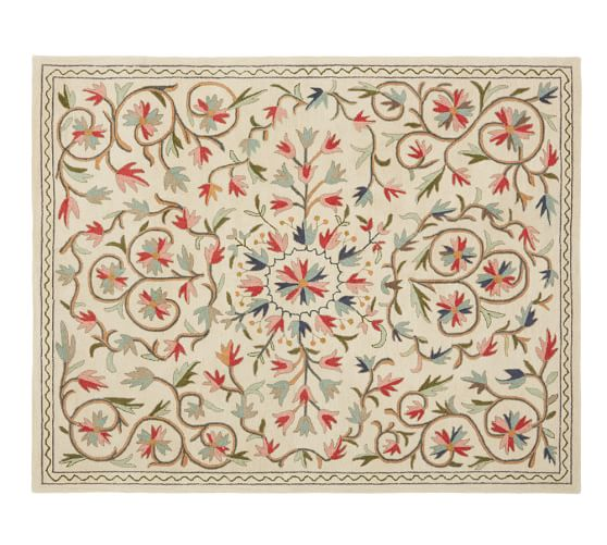Makayla Floral Guntufted Wool Rug, 8x10'