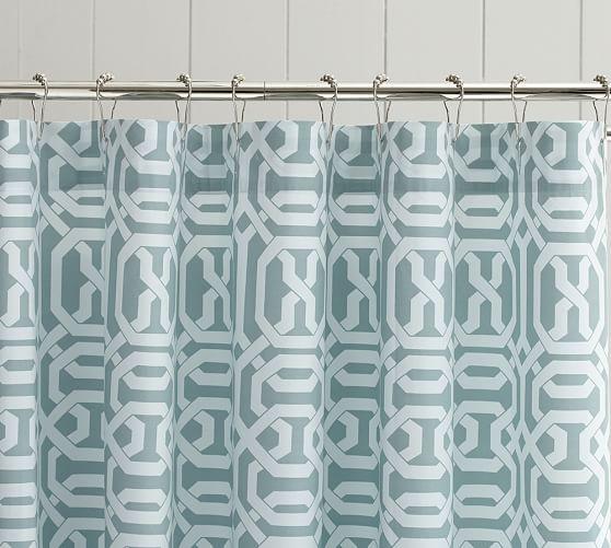 Terri Trellis Shower Curtain, Porcelain Blue