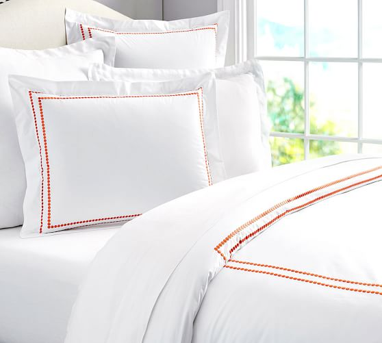 Pearl Embroidered 280-Thread-Count Duvet Cover, Full/Queen, Clementine