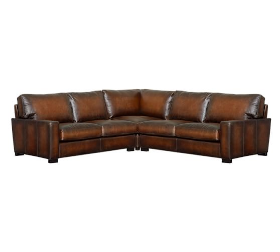 Turner square arm leather 3 piece l shaped sectional with for Affordable furniture 3 piece sectional in wyoming saddle