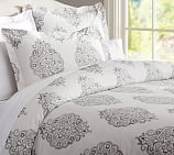 Asher Organic Duvet Cover, Full/Queen, Gray