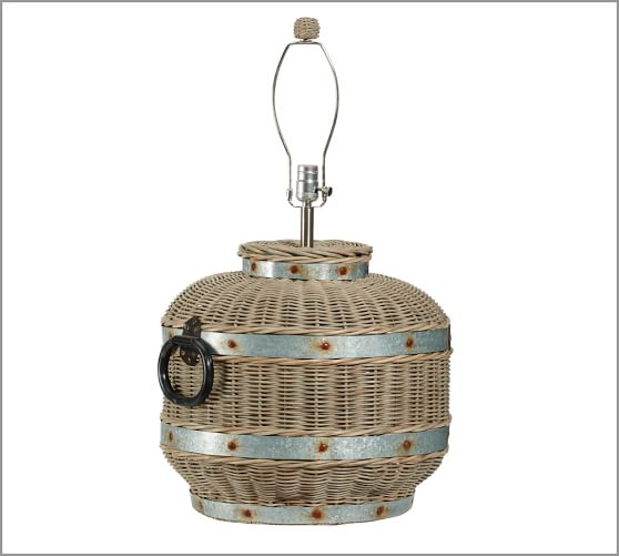 Wicker & Galvanized Metal Grand Table Lamp