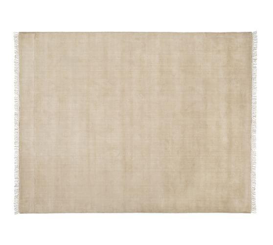 Fringed Hand-Loomed Wool Rug, 5x8', Heathered Taupe